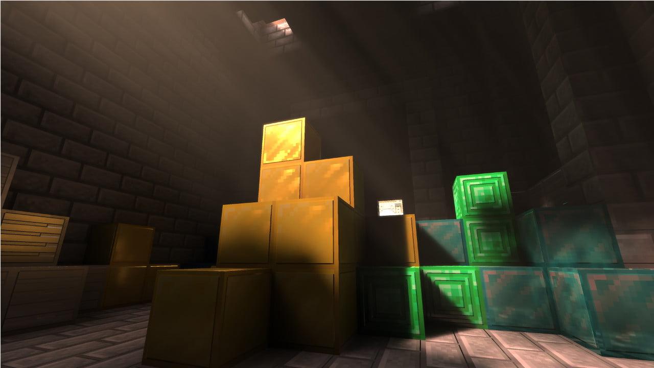Minecraft con Ray Tracing iluminando algunos bloques de Oro, Diamante y Esmeralda