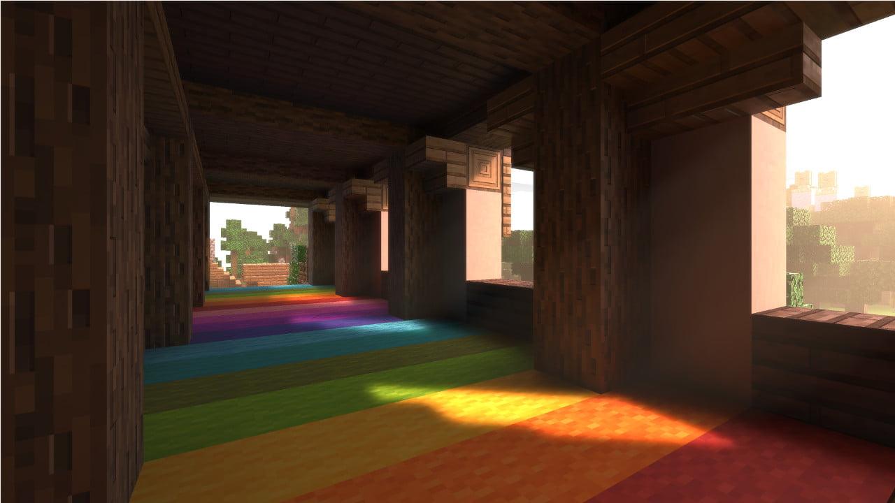 Minecraft con Ray Tracing iluminando una zona cocn colores y paredes de forma más realista