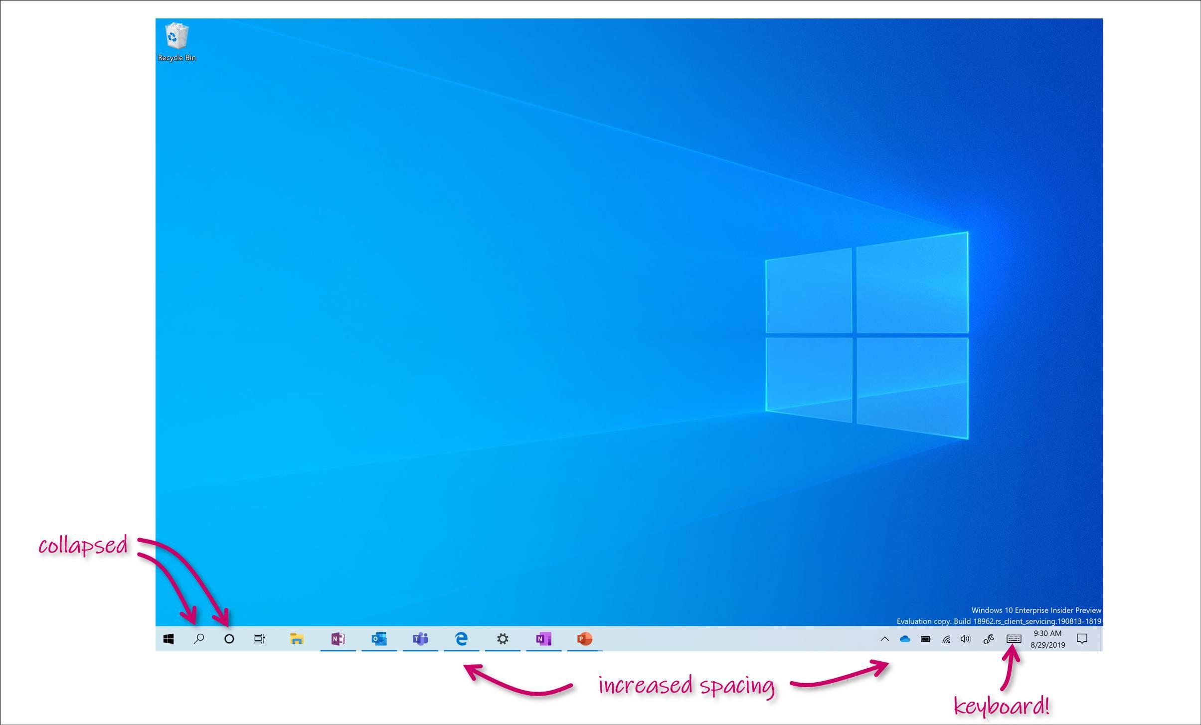 Detalles del nuevo modo tablet que llegará en Windows 10 20H1
