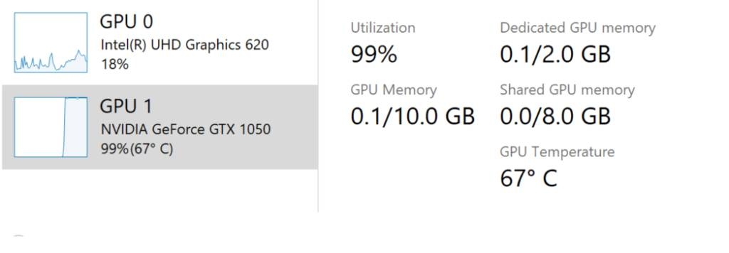 Temperatura de una Nvidia GTX 1050 en Windows 10 en la Build 18963 o superior