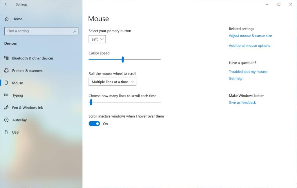 Velocidad del ratón en Configuración de la Build 18963 de Windows 10