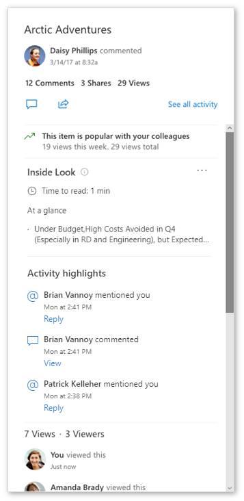 Vistazo a los archivos y actividades destacadas de un documento en OneDrive en el mes de julio 2019