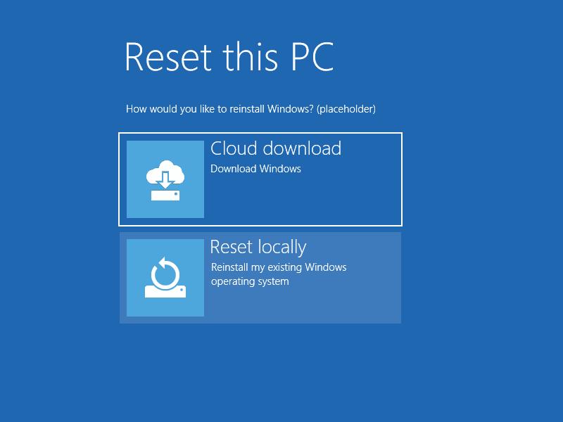 Restauración en la nube en Windows 10