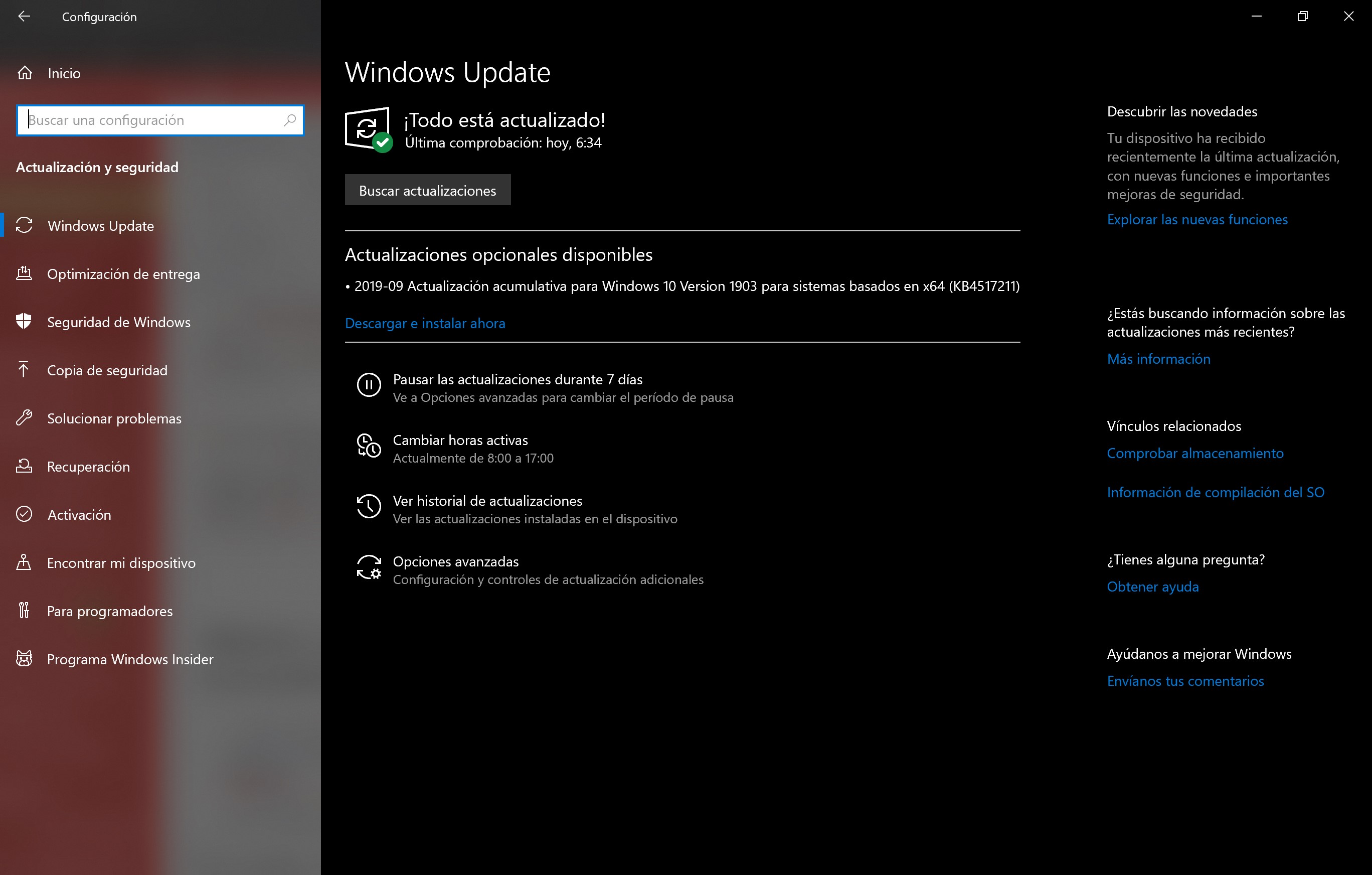 Windows Update muestra la acumulativa 18362.387