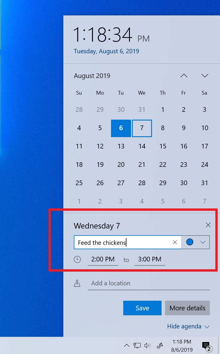 Añadir citas al calendario desde la ventana del reloj en Windows 10 19H2