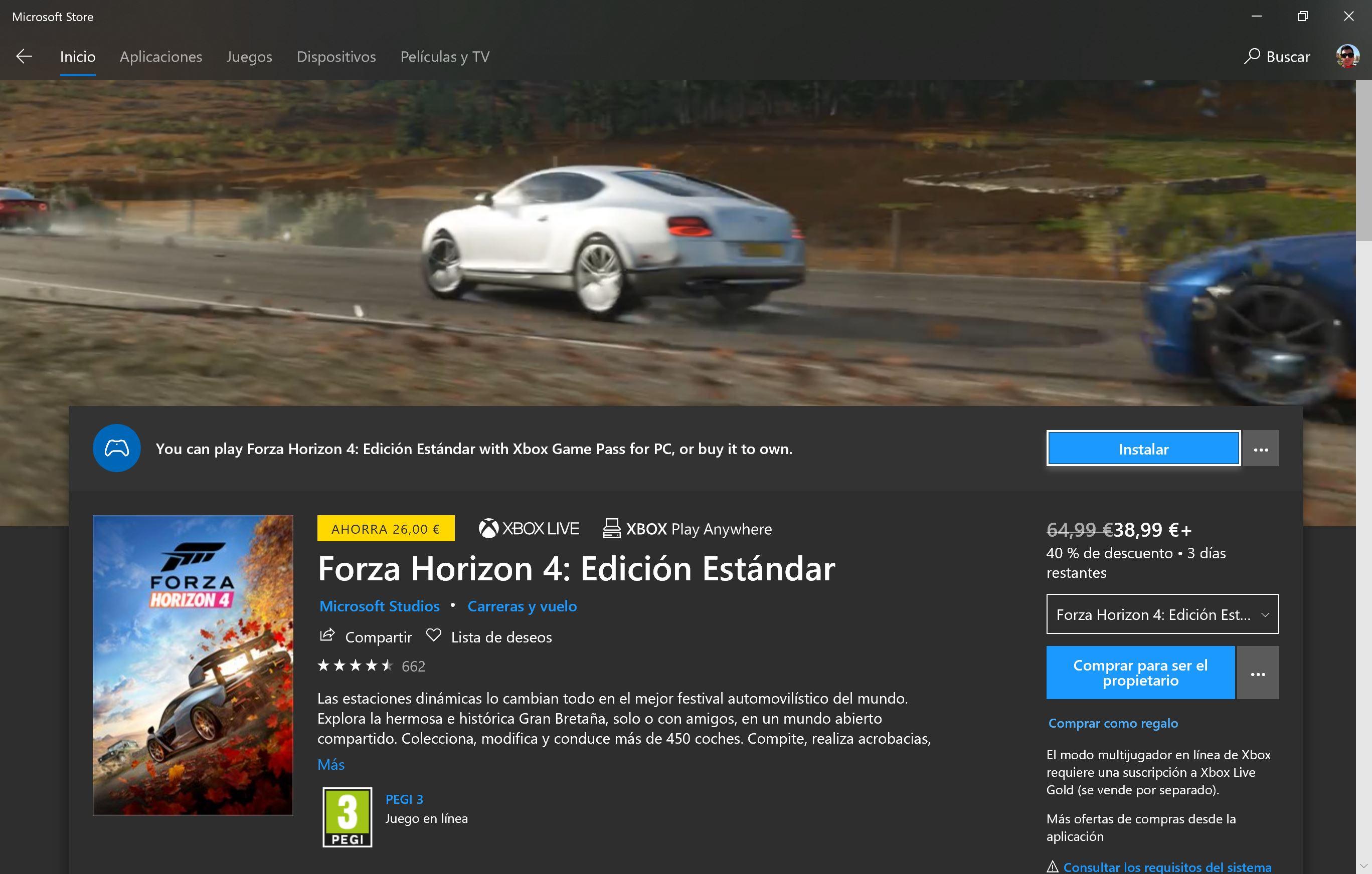 Forza Horizon 4 en la Microsoft Store