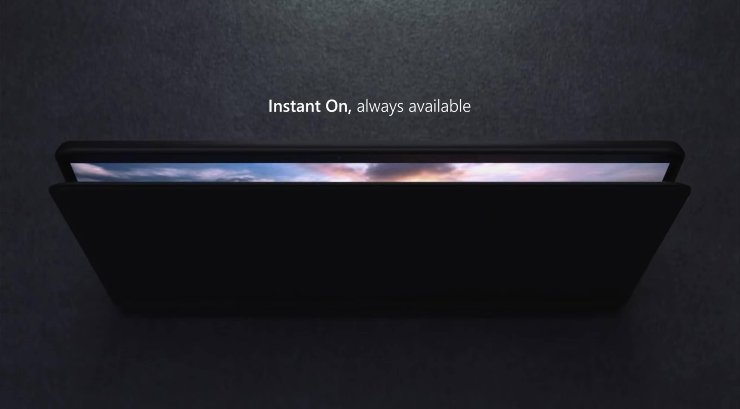 Frangmento del vídeo de Surface Pro X en el que se anuncia Instant On