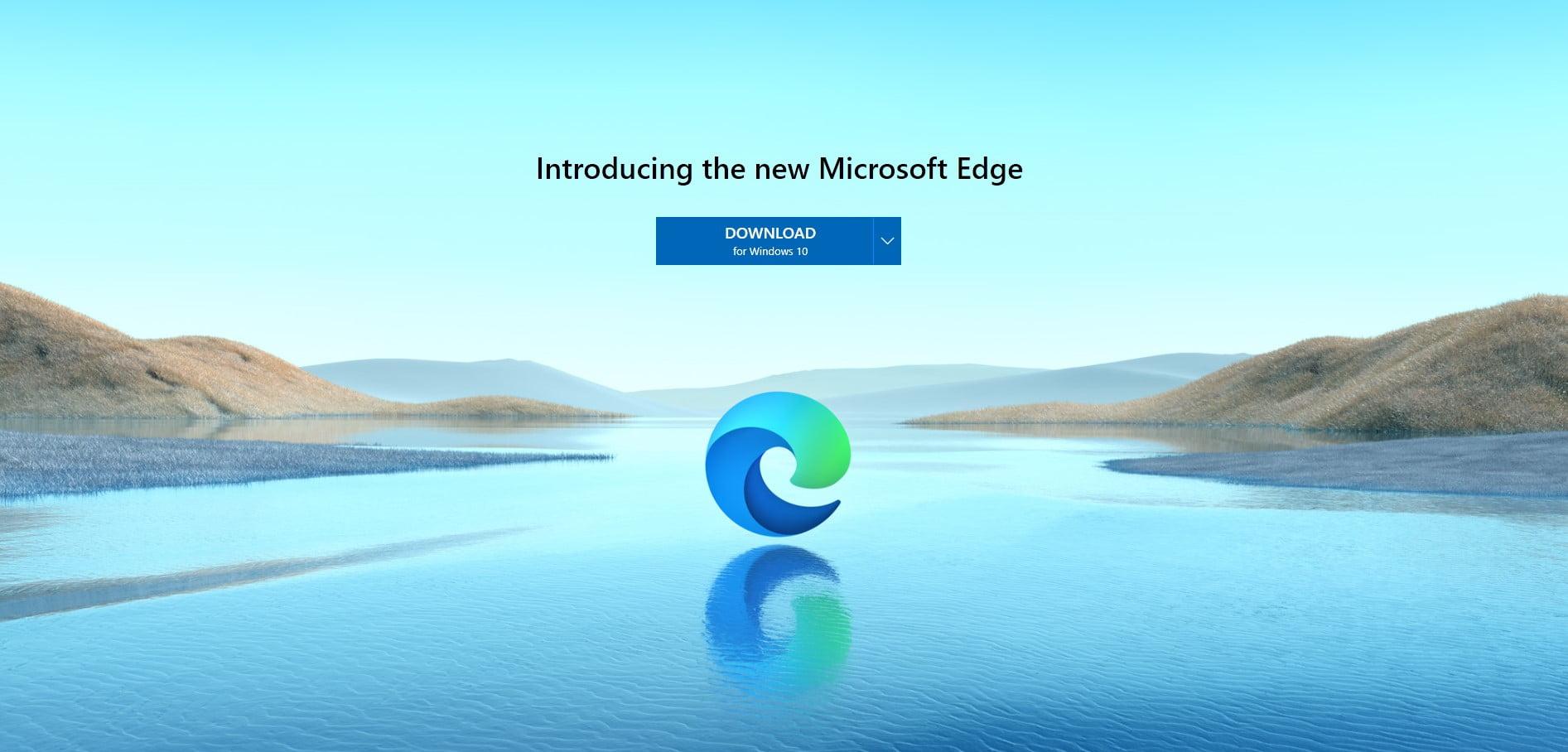Logo de Edge con resplandor sobre el agua