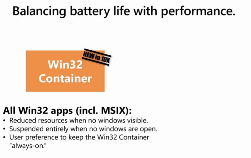 Funciones del contenedor Win32 en Windows 10X
