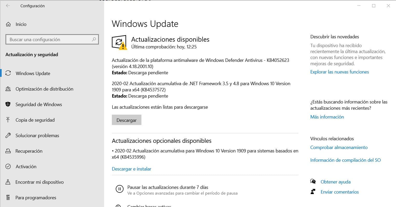 Actualización acumulativa KB4535996 disponible como actualización opcional