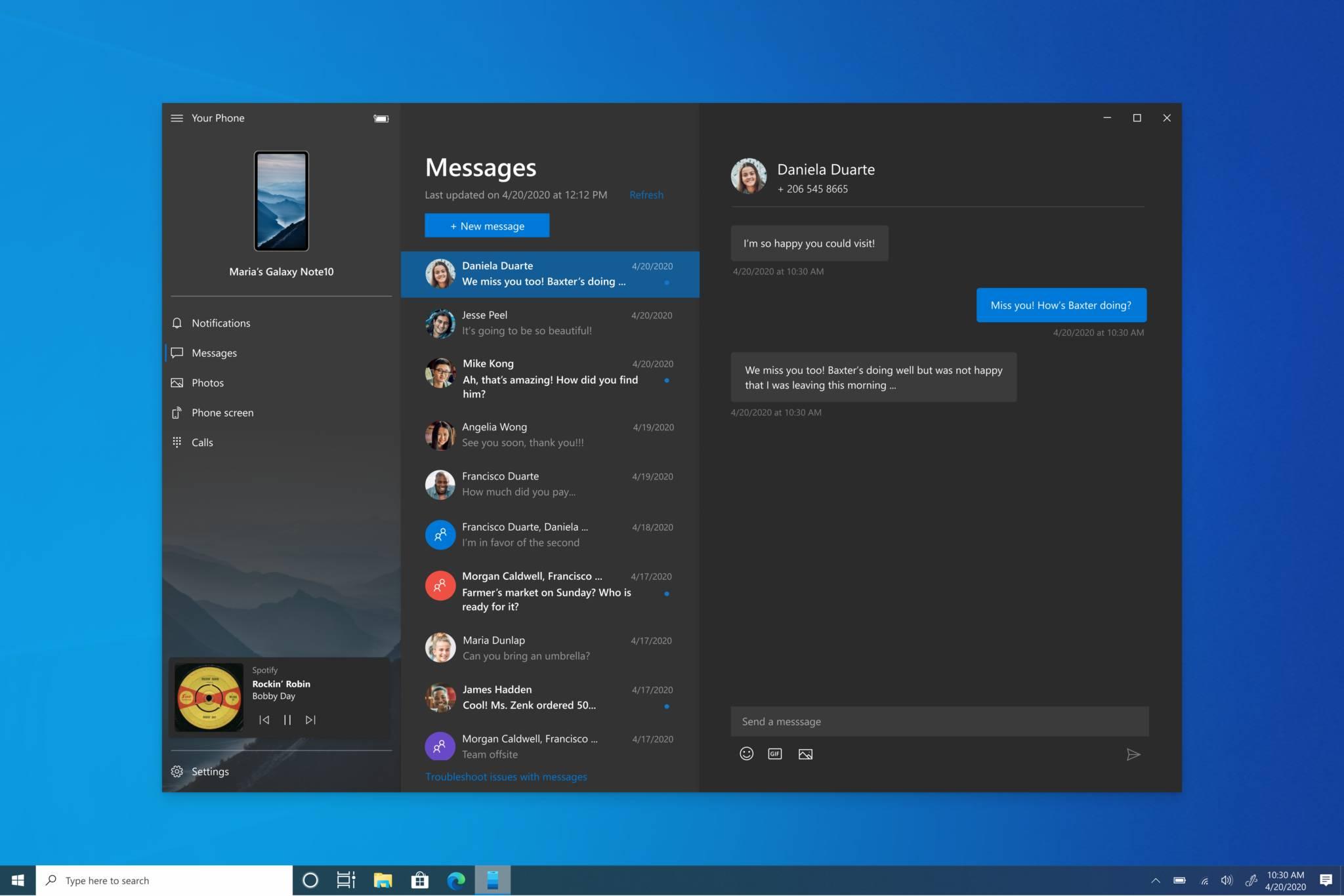 Audio dentro de tu teléfono en Windows 10