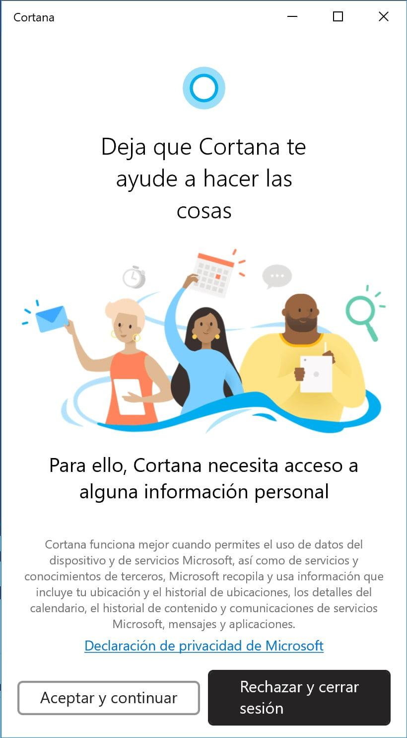 Cortana inicio de la nueva