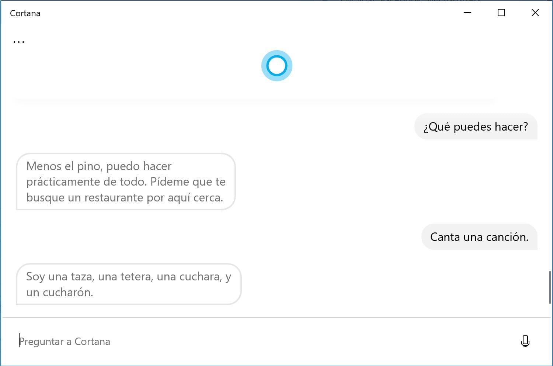 Cortana respondiendo preguntas en Windows 10