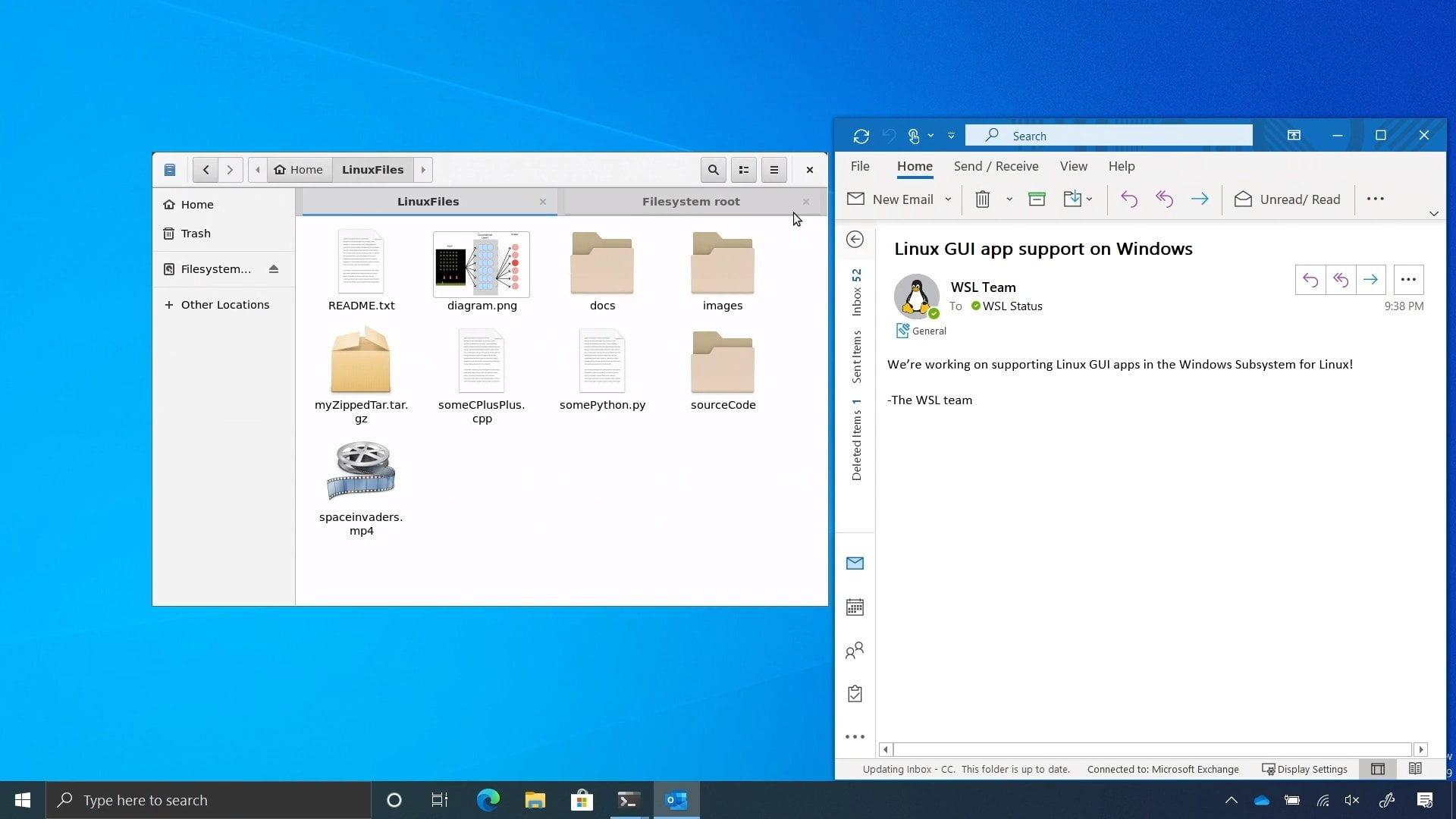 Aplicación gráfica de Linux funcionando de forma nativa en Windows 10