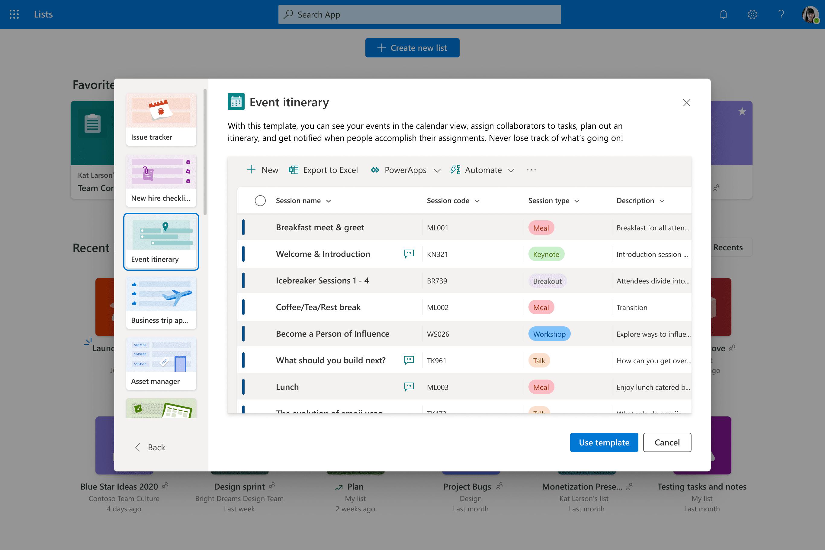 Creación de una nueva lista con Microsoft Lists