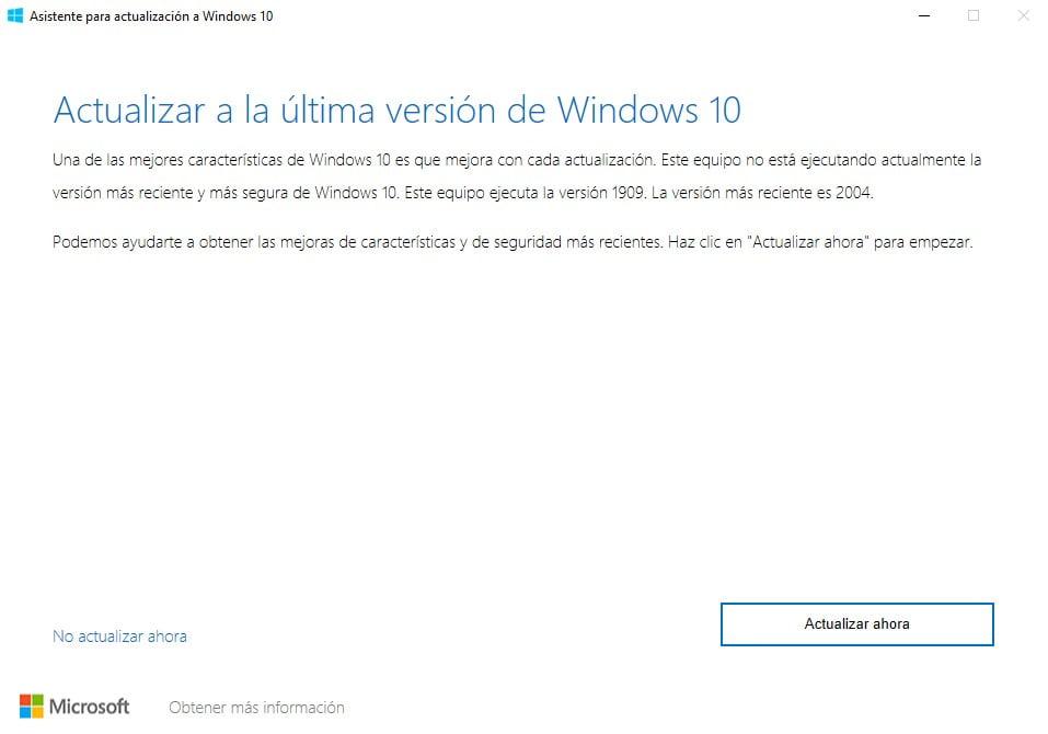 Asistente de actualización de Windows en la actualización a Windows 10 2004