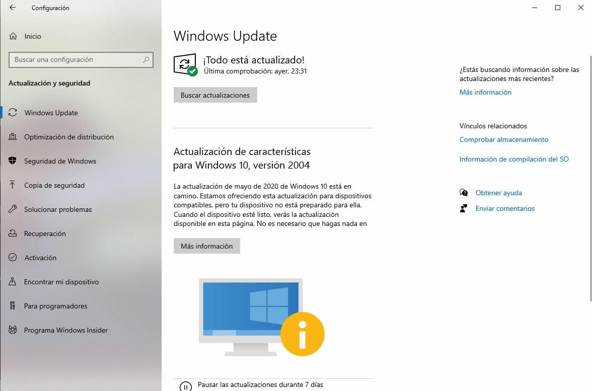 Windows Update indica que el equipo no está preparado para Windows 10 May 2020 Update