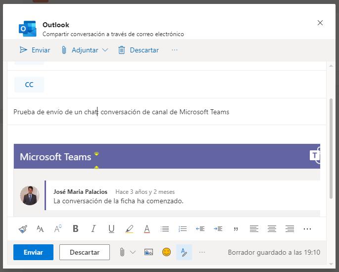 Conversación de Microsoft Teams como mensaje de Outlook