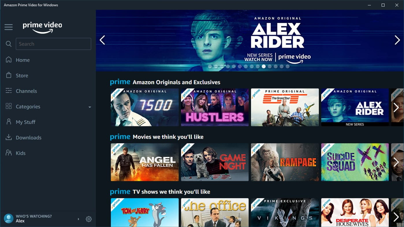 Amazon Prime Video para Windows inicio