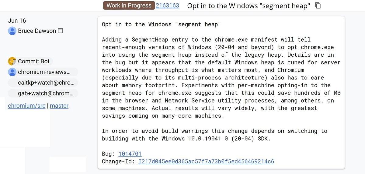 El uso de SegmentHeap reducira en consumo de RAM en Chromium y derivados