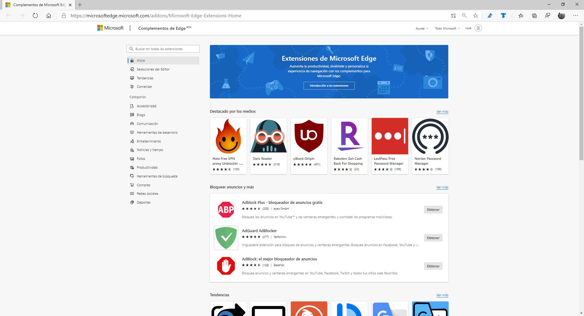 La nueva tienda de Extensiones de Microsoft Edge