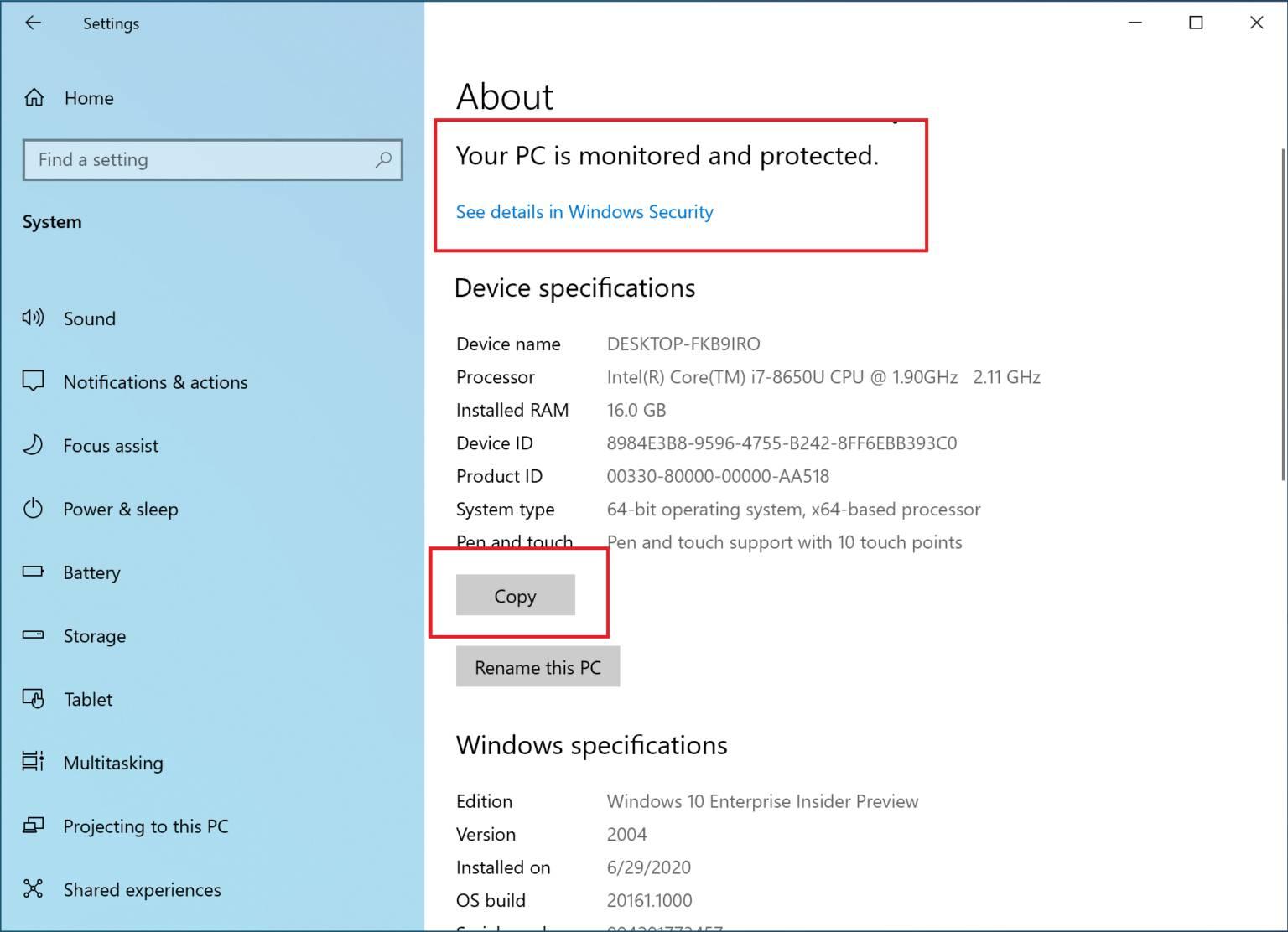 Nuevas funciones de la configuración en la Build 20161 en el canal Dev de Windows 10