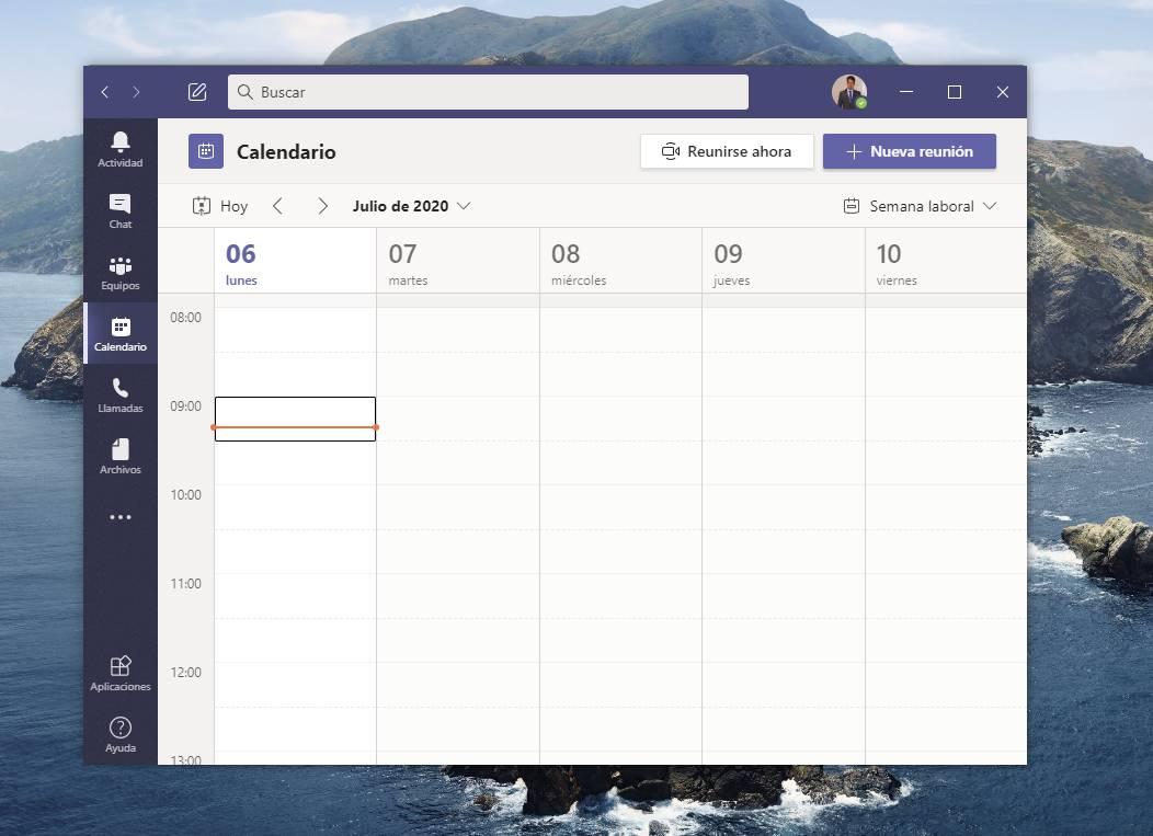 El calendario de Microsoft Teams
