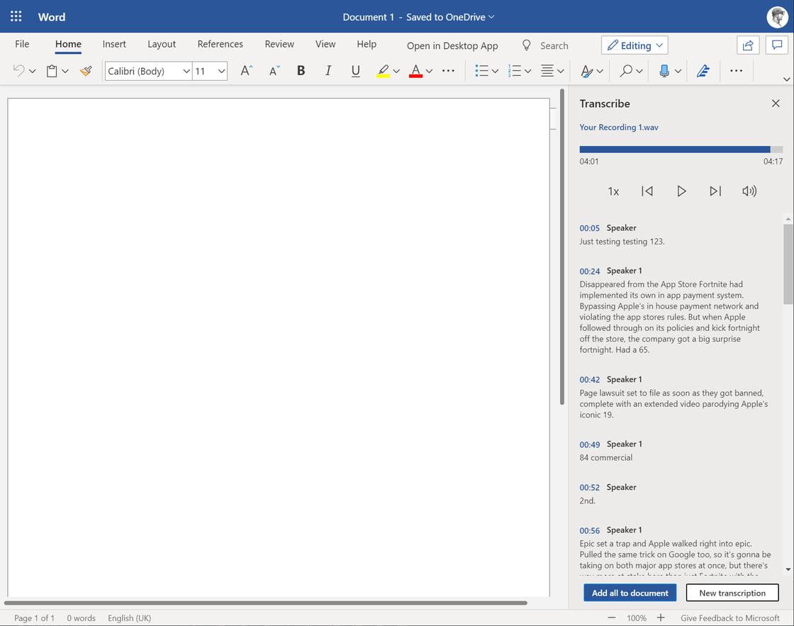 Fragmentos del audio transcrito en Microsoft Word