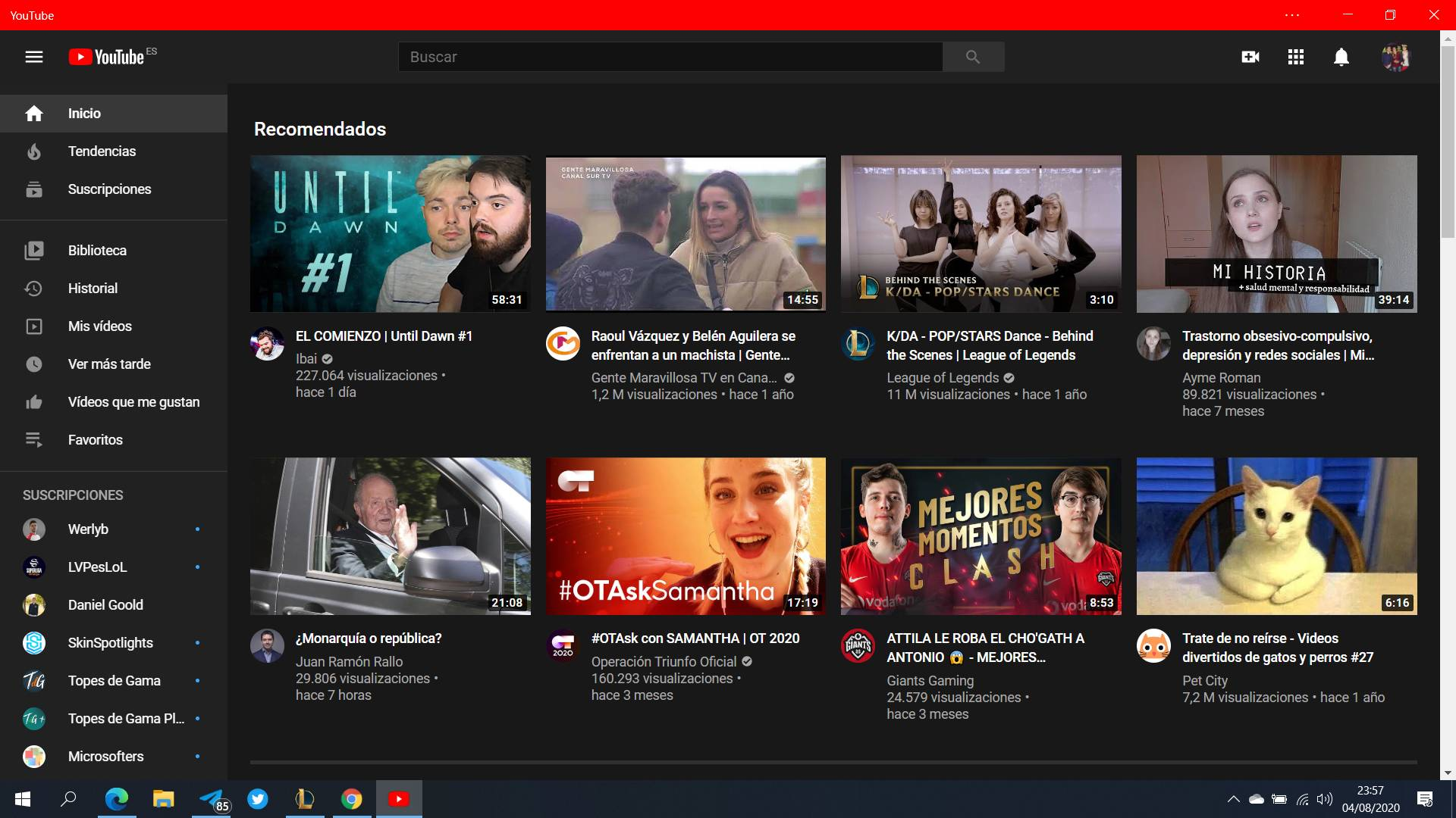 Aplicación web de YouTube en Windows 10