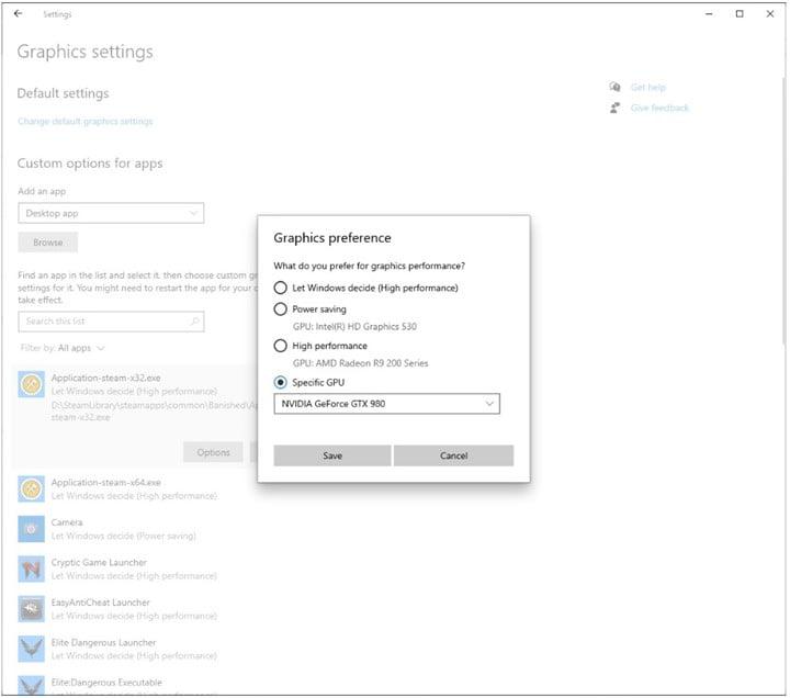 Configuración por defecto de los gráficos por aplicación de Windows 10 en la Build 20190 del canal Dev de Insider