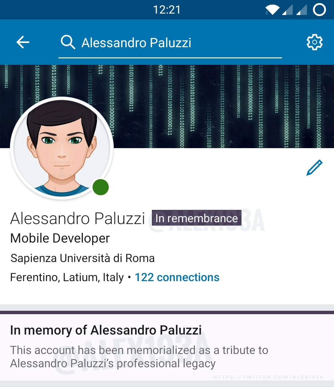 En memoria en LinkedIn