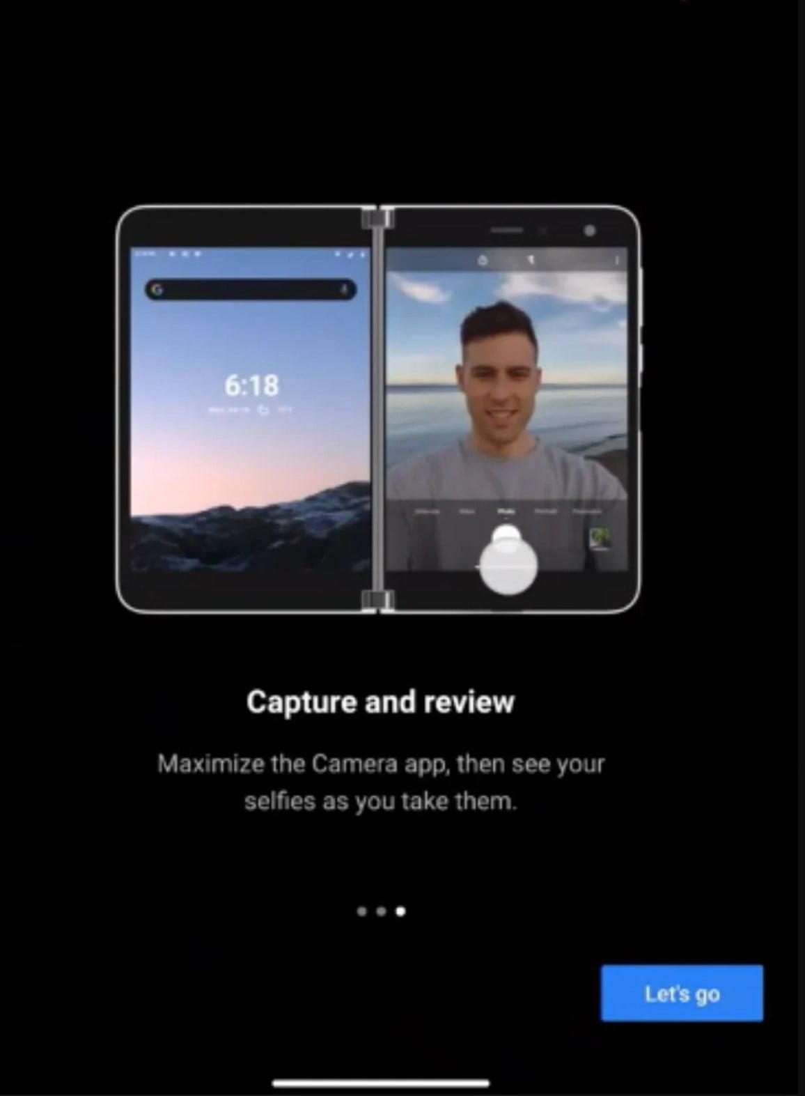 Interfaz de cámara de Surface Duo para dos pantallas