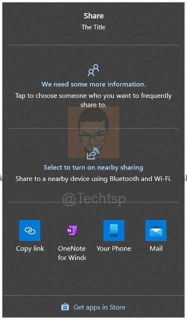 La opción de compartir en Windows 10