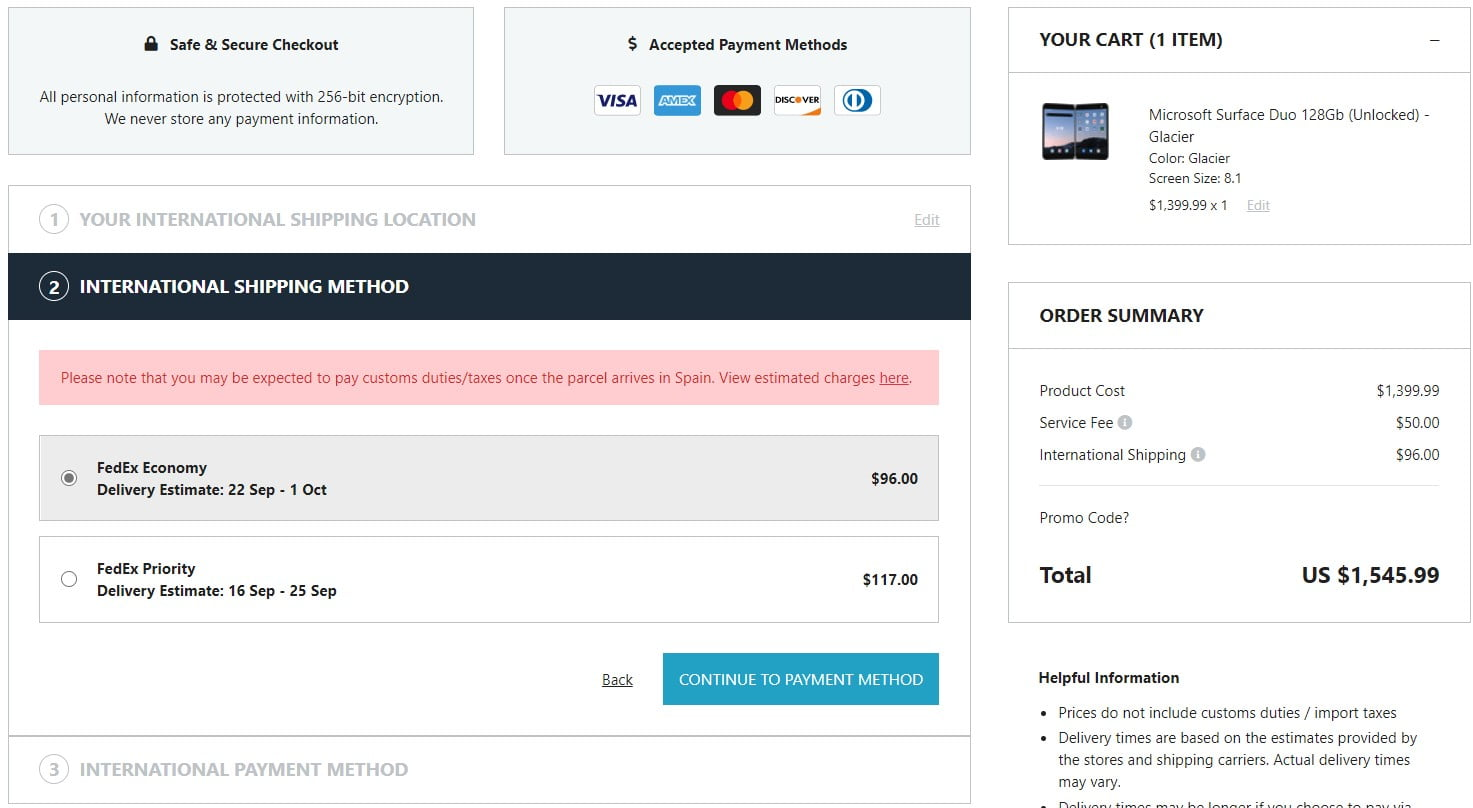 Estimación de costes del pedido de Surface Duo en Big Apple Buddy