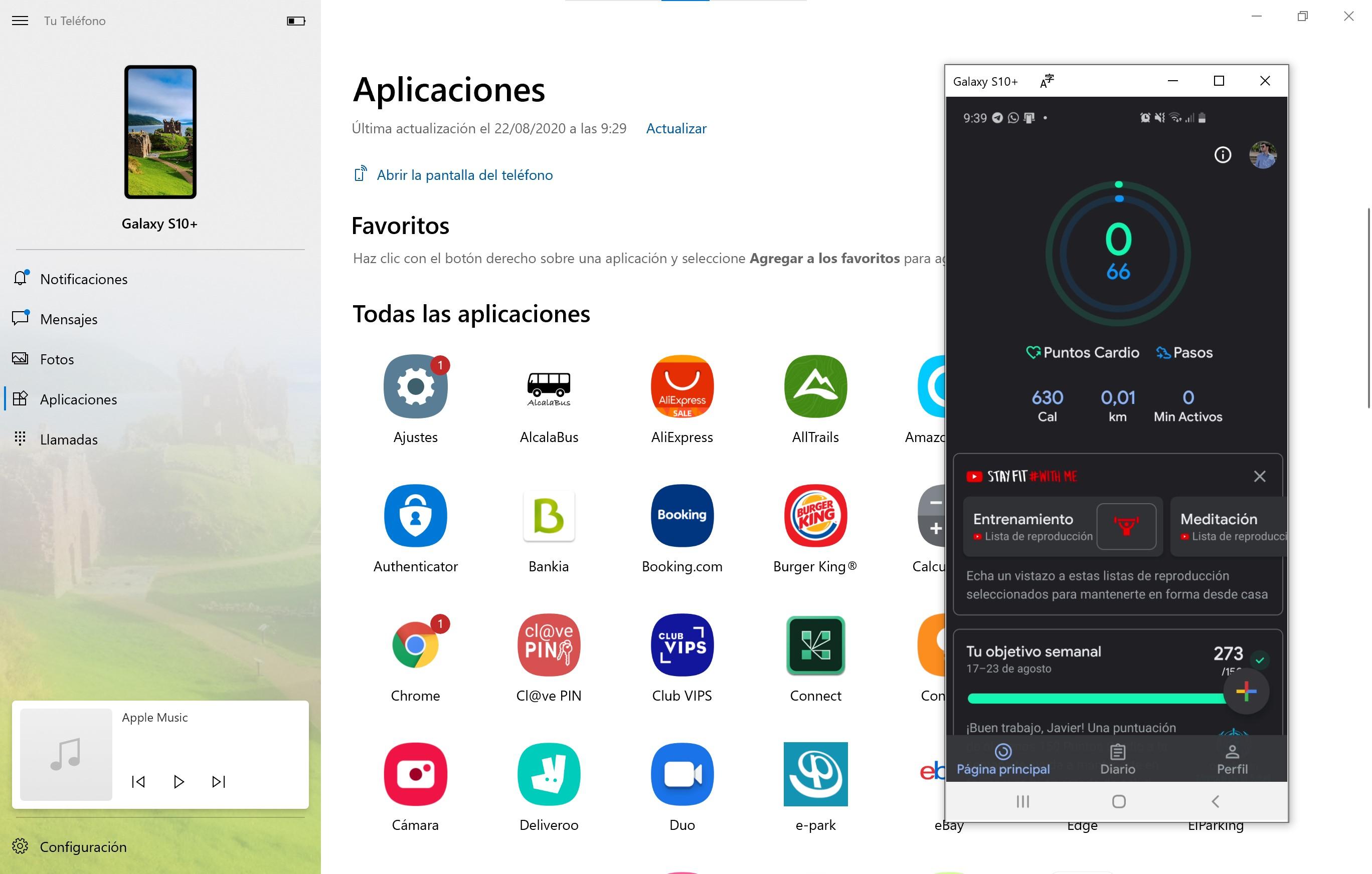 App Tu Teléfono mostrando las aplicaciones del Samsung Galaxy S10+