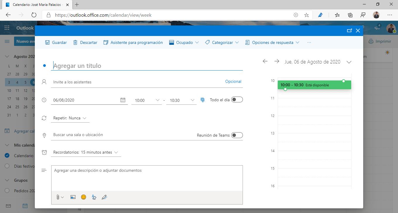 Crear una reunión desde la web