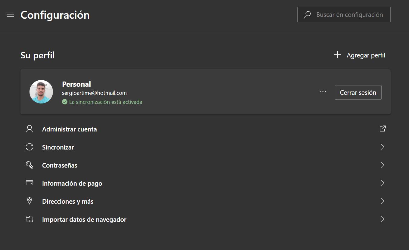 Administración de perfiles en Microsoft Edge