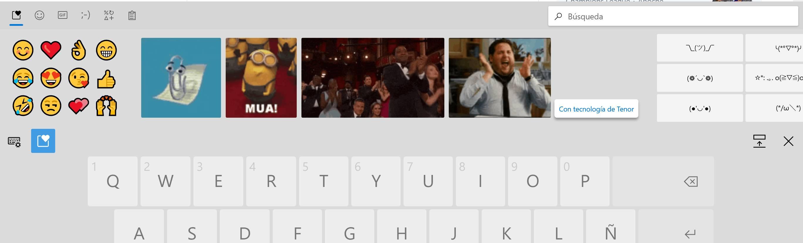 Emojis y GIFs en el nuevo teclado de Windows