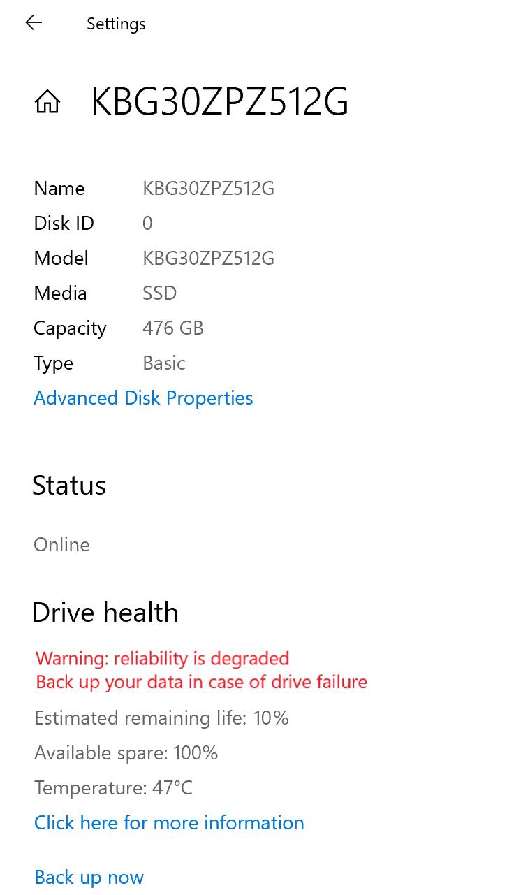 Página de propiedades de SSD NVMe en Configuración de almacenamiento