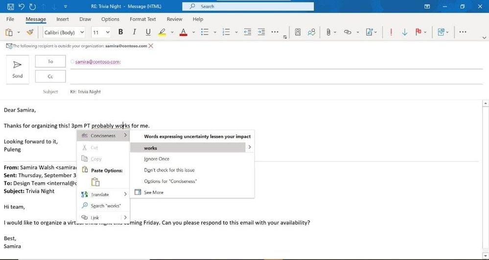El nuevo Editor en Outlook