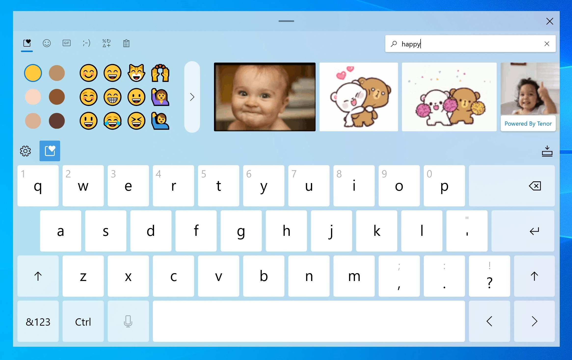 Nuevo teclado táctil con Gif y Emoji de la Build 20206 de Windows 10 Insider en el canal Dev