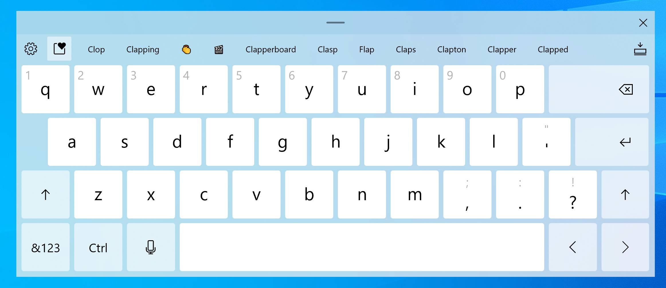 Nuevo teclado táctil de la Build 20206 de Windows 10 Insider en el canal Dev