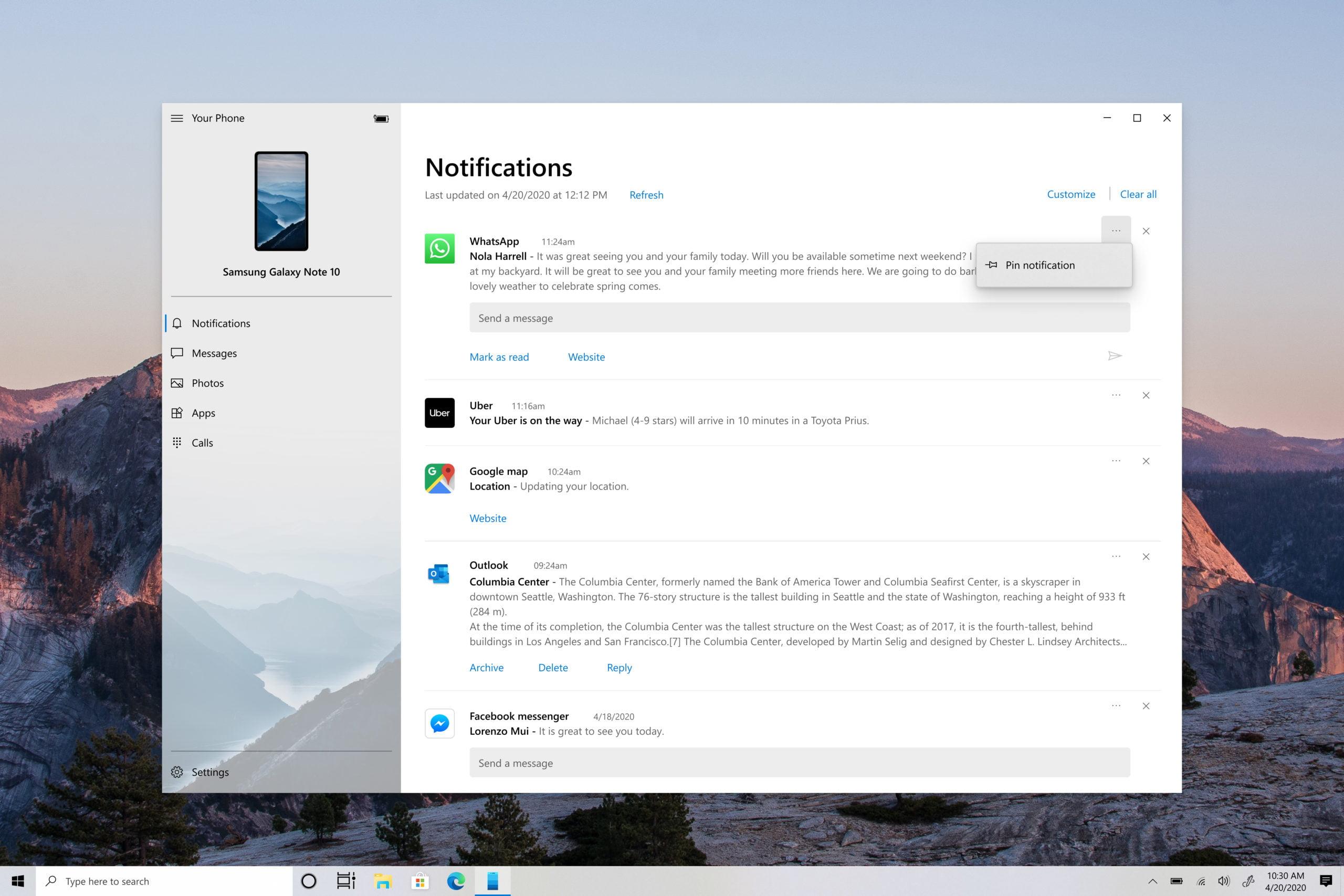 Tu teléfono de Windows 10 con la opción de anclar notificaciones