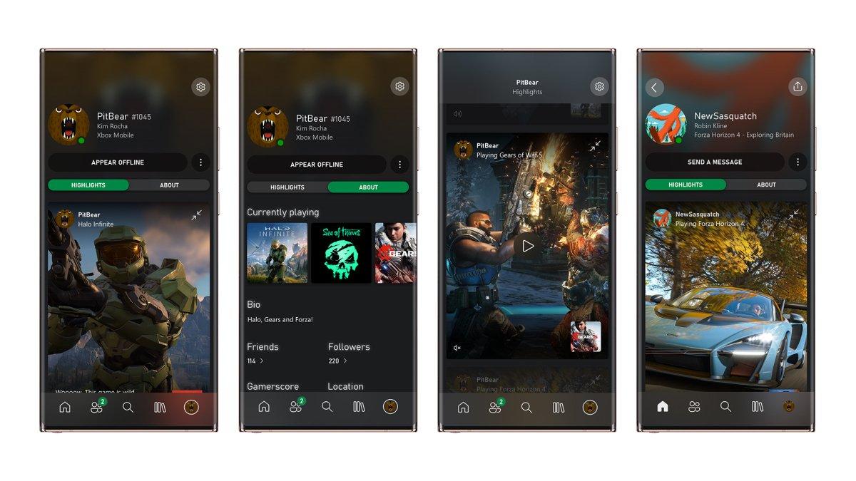 El nuevo perfil de la app de Xbox