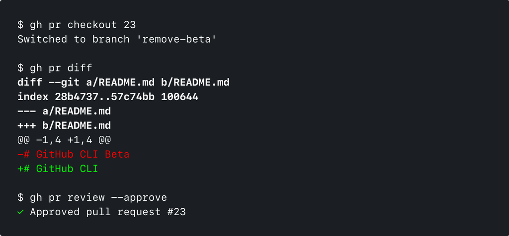Captura de pantalla de la CLI de GitHub ejecutando 'gh pr checkout 23' y 'gh pr diff'