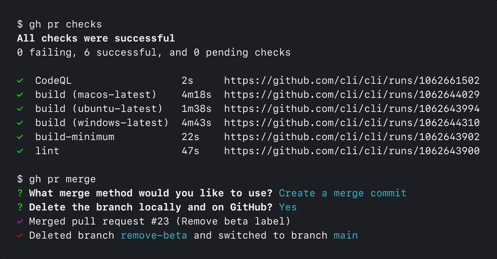 Captura de pantalla de la CLI de GitHub ejecutando 'gh pr checks' y 'gh pr merge'