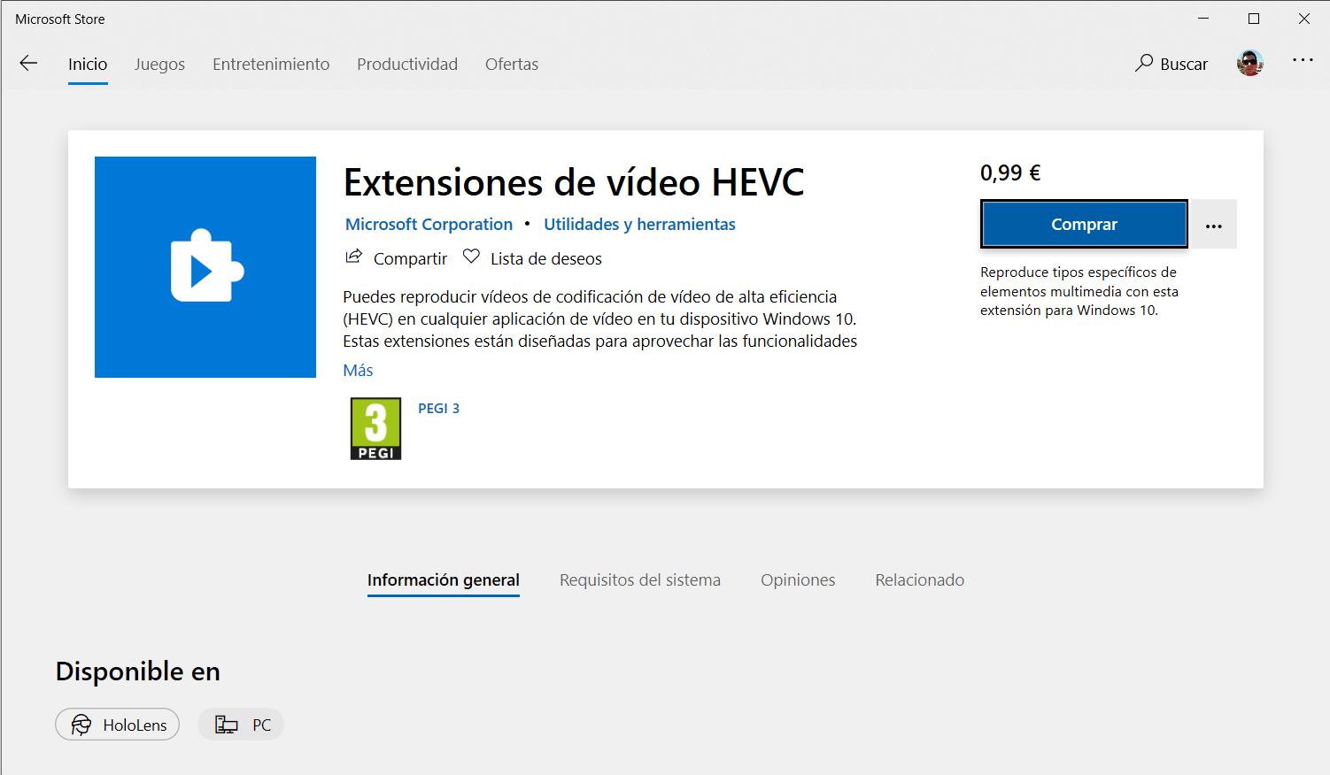 Página de las extensiones de vídeo HEVC en la Microsoft Store de Windows 10