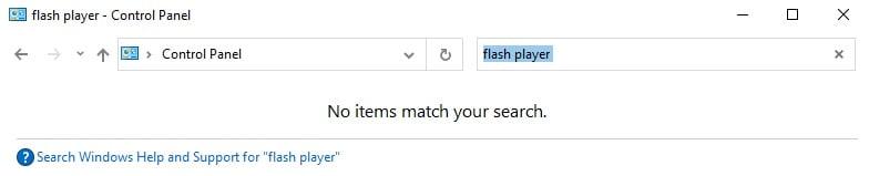 Flash en el panel de control