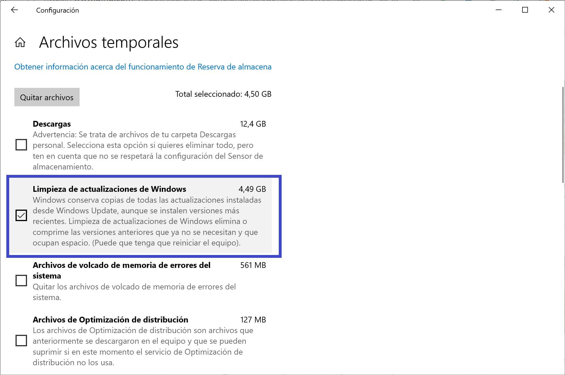 Limpieza de archivos temporales de actualización a Windows 10 20H2