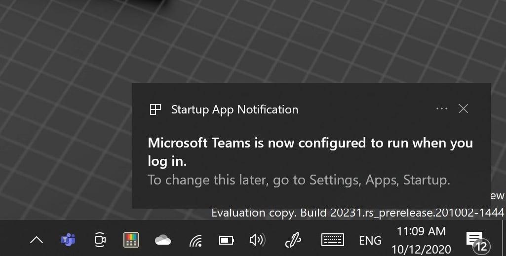 Notificación de la aplicación de inicio